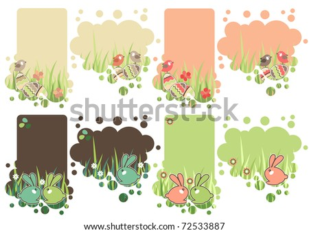 Pretty collection of different decorative easter tags - stock vector