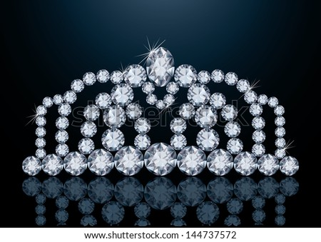 Pretty diamond diadem, vector illustration - stock vector