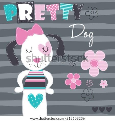 pretty dog vector illustration - stock vector