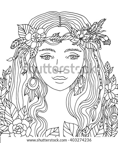 Pretty elegant girl, floral wreath. Coloring book page for adult. Vector artwork. Hand drawn girl portrait. Bohemia flower concept for wedding invitation, card, ticket, branding, boutique logo, label - stock vector