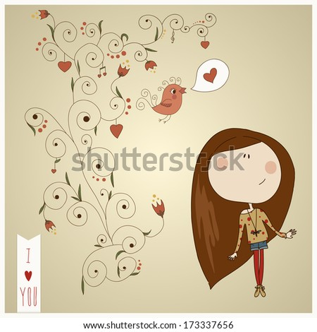 Pretty fashion girl drawn in ink on paper background with soft ornate eps 10 - stock vector