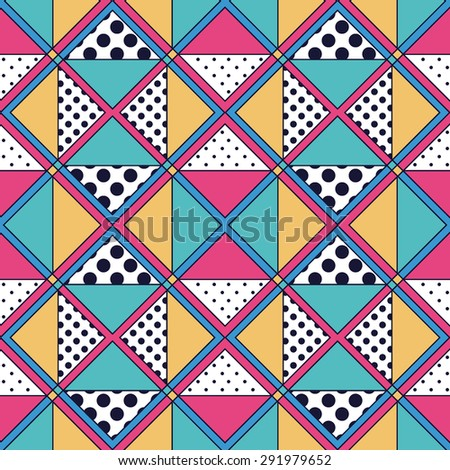 Pretty geometric abstract seamless pattern with different textures and dots