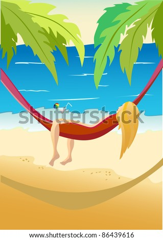Pretty girl laying in a hammock on a sky background with sun and sea. - stock vector