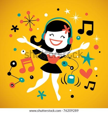 Pretty girl listening music - stock vector