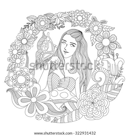 Pretty girl playing with butterfly in the flowers garden line art for coloring page for adult. - stock vector