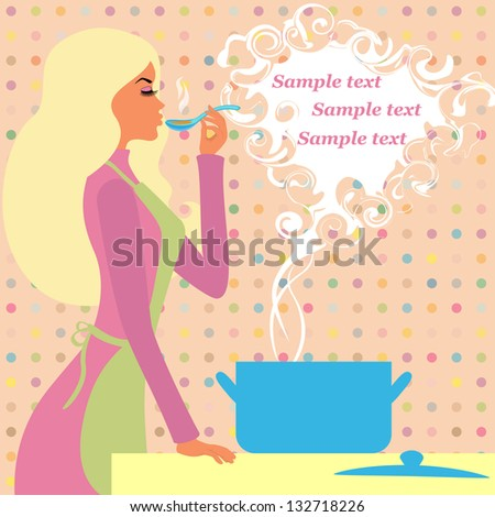 Pretty girl prepares food - a picture with space for your text - stock vector