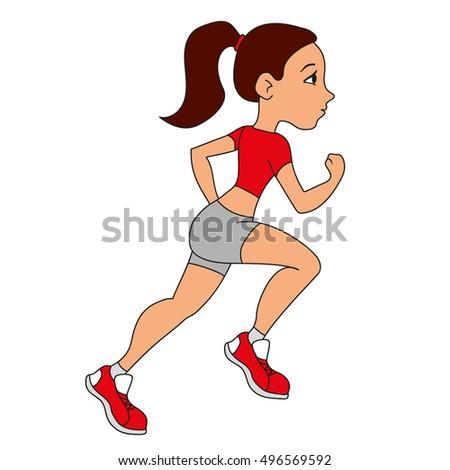 pretty girl running cartoon style vector stock photo photo vector rh shutterstock com cartoon little girl running cartoon girl running clipart