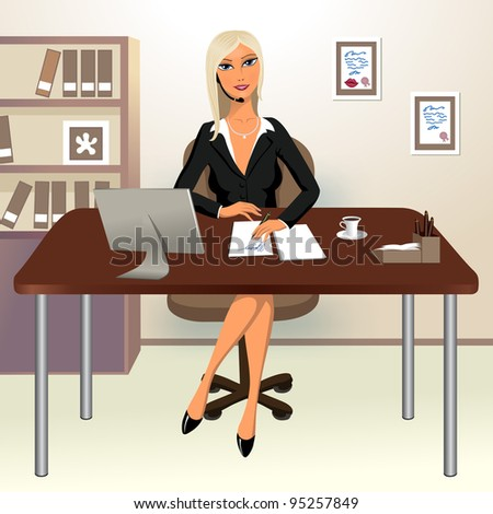 Pretty girl speaking phone at her office - stock vector