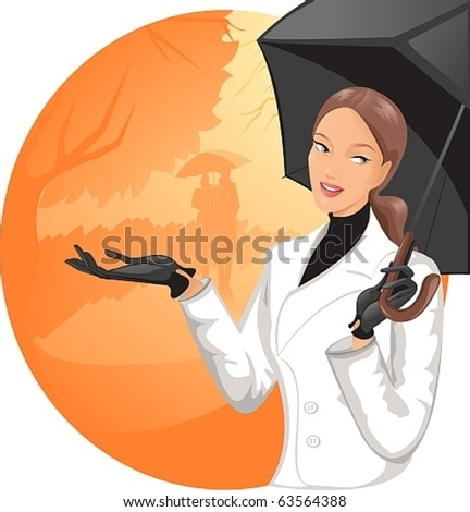 Pretty girl under an umbrella in front of the autumnal city - stock vector