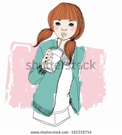 Pretty girl with drink - stock vector