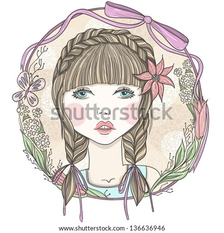 Pretty girl with flowers and butterfly element frame. - stock vector