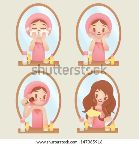 Pretty girl with skincare and make up - Vector EPS10 - stock vector