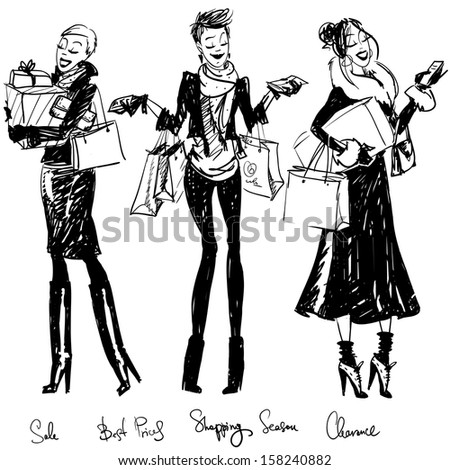 Pretty girls with shopping bags - stock vector