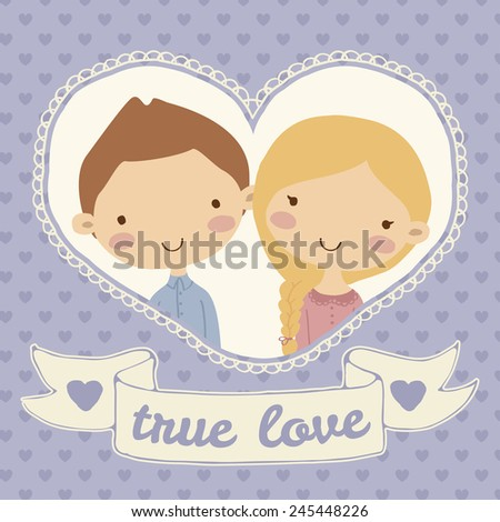 Pretty hand drawn poster with portraits of loving boy and girl in heart frame for valentines day in cute cartoon childish style. Doodle greeting card with seamless pattern background in purple hearts. - stock vector