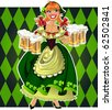 Pretty leprechaun girl in green with beer on green background - stock photo