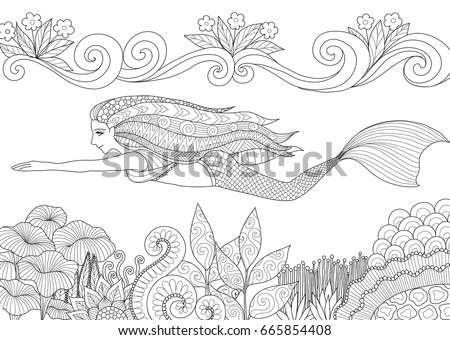 pretty mermaid swimming above beautiful coral for adult and kid coloring book page vector illustration - Coloring Pages Pretty Mermaids