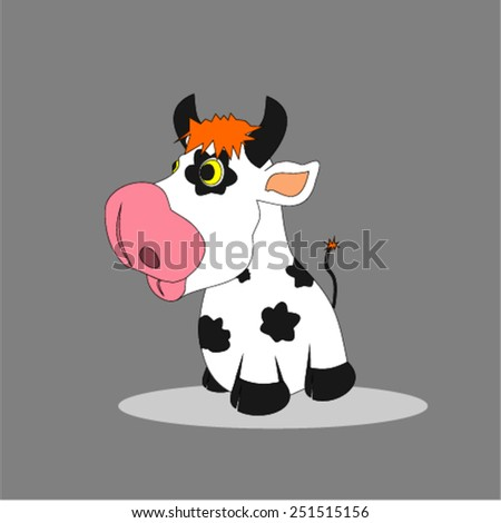 Pretty painted cow - stock vector