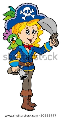 Pretty pirate girl with parrot - vector illustration. - stock vector
