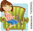 Pretty pregnant woman with cat in green armchair - stock vector