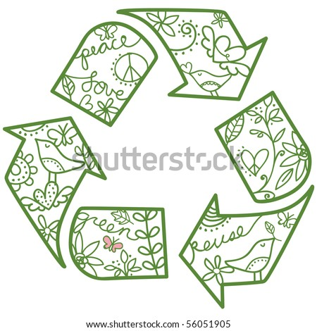 "pretty recycling symbol. Easy to change colors. Great for any ""Go Green"" project. Trendy & unique element."