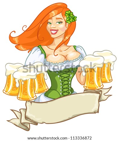 Pretty red girl with beer, St. Patrick's Day logo design with space for text, isolated - stock vector