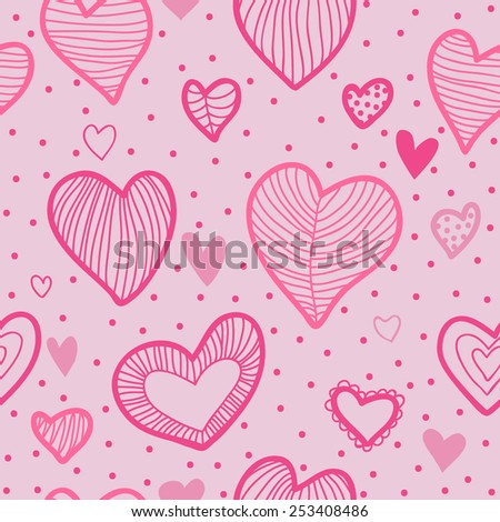 Pretty seamless vector pattern with hearts