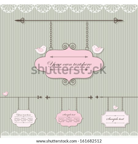 Pretty signboard set with lace and birds. - stock vector