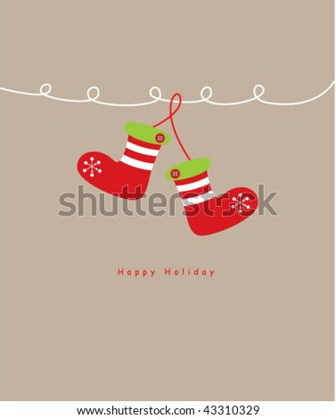 pretty sock greeting card - stock vector