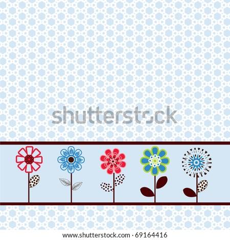 pretty spring flower paper / border - stock vector