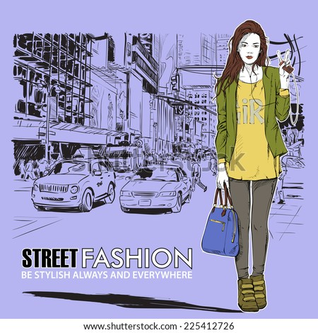 Pretty stylish girl on a street background. Vector illustration.