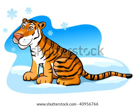 pretty tiger on the snow (editable layers) - stock vector