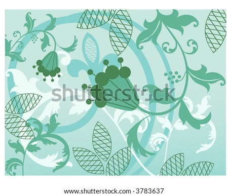 pretty vines with quirky flower vector - stock vector