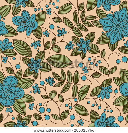Pretty vintage floral wallpaper or fabric seamless background pattern with decorative blue flowers on trailing vines with leaves and berries - stock vector