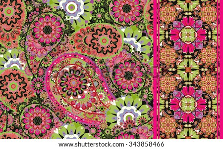 Pretty Vintage Vector Floral seamless patterns and ribbon.  Use to create stunning craft or textile projects. Ideal as patchwork pieces for quilts or Digital paper. - stock vector