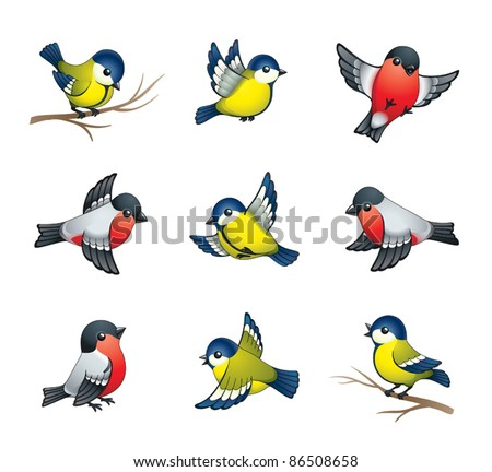 Pretty winter birds: tits and bullfinches. EPS8 vector format. - stock vector