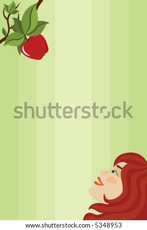 Pretty woman craving an apple, on pale green background, with copy space - stock vector