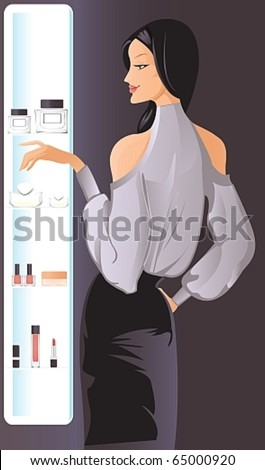 pretty woman in the department of cosmetics and perfumes - stock vector