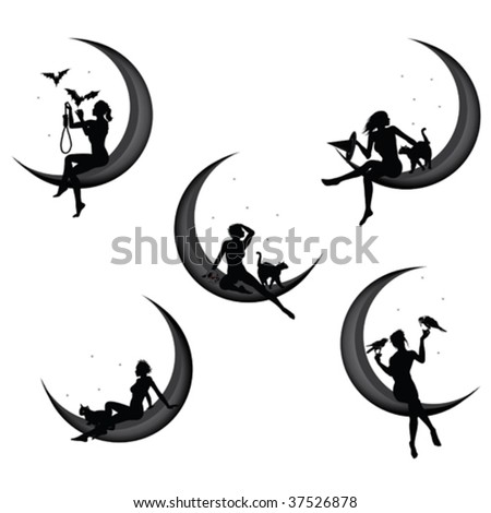 Pretty woman sitting on the crescent, Halloween concept - stock vector