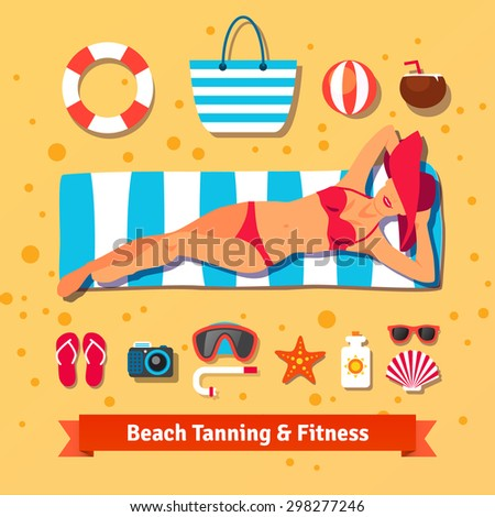 Pretty woman tanning on the beach and set of sea vacation icons. Flat vector illustration. - stock vector