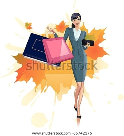 Pretty woman with purchases - stock vector