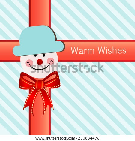 Pretty wrapping paper with snowman accessory ribbon and bow  - stock vector