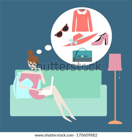 Pretty Young Woman Sitting on Sofa and Shopping Online - stock vector