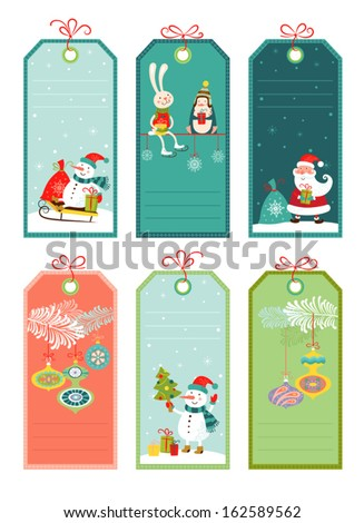 Price and discount tags with christmas elements, vector illustration. - stock vector