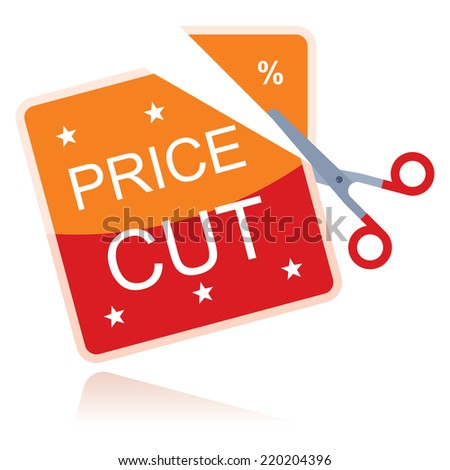 price cut, concept with red scissors - stock vector