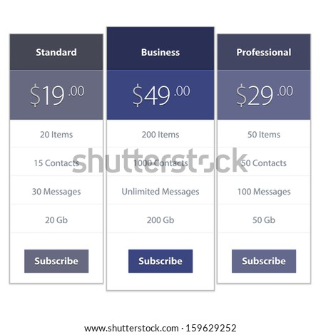 Price list widget with 3 payment plans for online services website template. Vector background. - stock vector