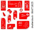 Price Red Tag Set VECTOR for christmas time. - stock vector