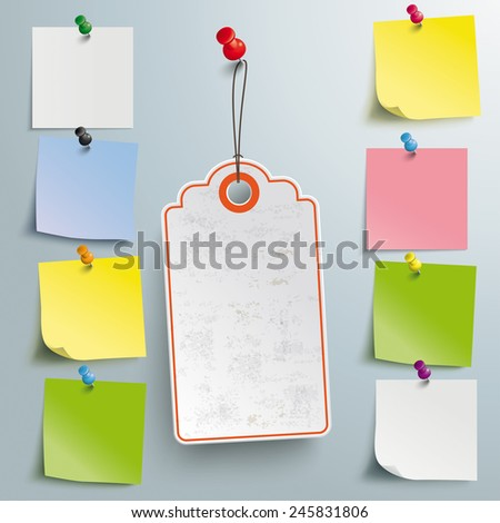 Price sticker with red thumbtackon the gray background. Eps 10 vector file.