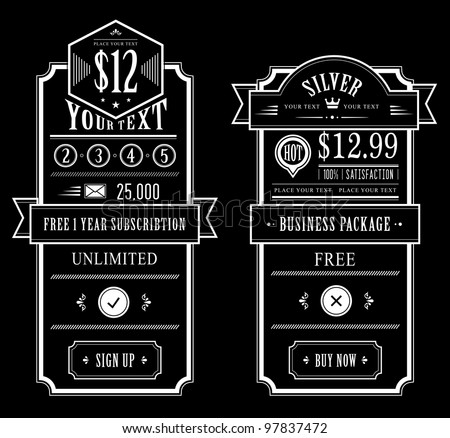 Price table vintage web and print design - stock vector