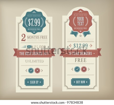 Price table vintage web and print element - stock vector