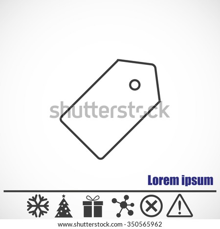 Price tag icon.Bonus icons: snowflake, Christmas tree, gift, molecule, delete icon and Hazard warning attention sign. - stock vector